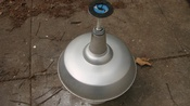 18 Inch Vintage Metal Globe Light In Good Working Condition