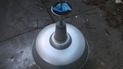 Vintage 18 Inch Metal Globe Light In Good Working Condition